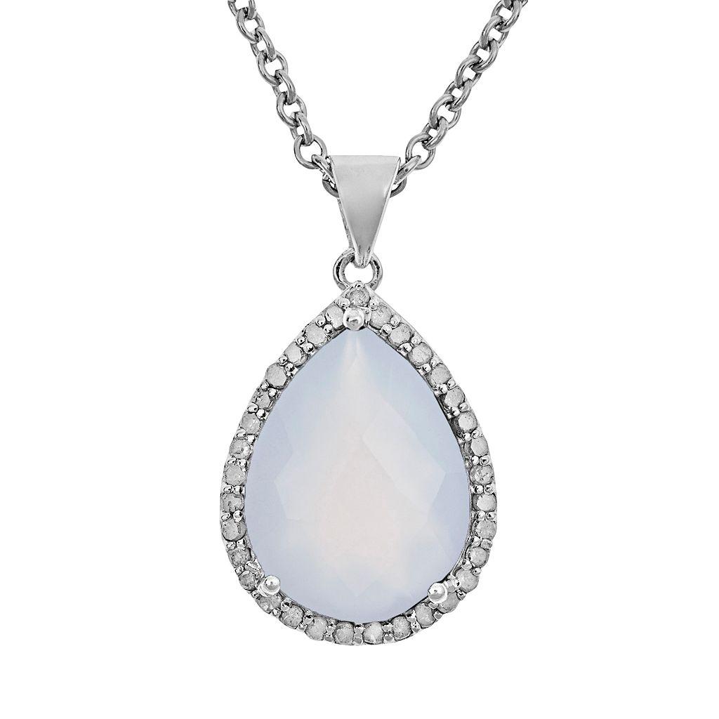 Sterling Silver 1/3-ct. T.W. Diamond & Blue Chalcedony Teardrop Pendant