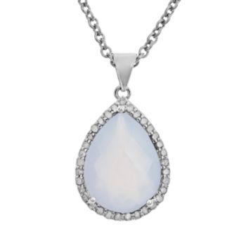 Sterling Silver 1/3-ct. T.W. Diamond and Blue Chalcedony Teardrop Pendant