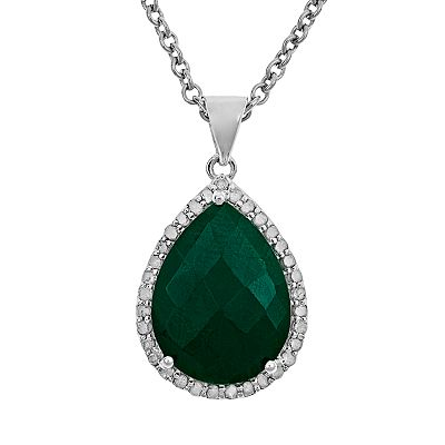 Sterling Silver 1/3-ct. T.W. Diamond and Opaque Emerald Teardrop Pendant