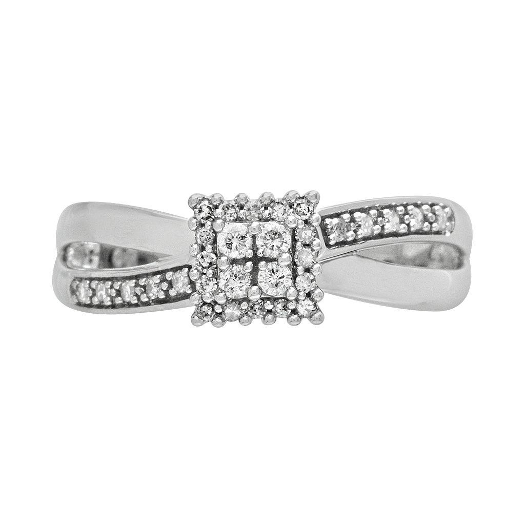 Cherish Always 10k White Gold 1/5-ct. T.W. Round-Cut Diamond Square Cluster Ring