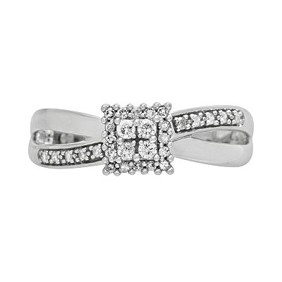 Cherish Always 10k White Gold 1/6-ct. T.W. Round-Cut Diamond Square Cluster Ring