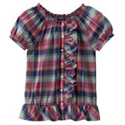 Chaps Plaid Smocked Top - Girls 7-16
