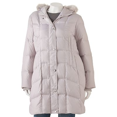 Apt. 9 Hooded Long Down Puffer Jacket - Women's Plus