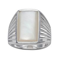 Silver Plated Mother-of-Pearl Ring