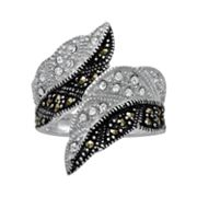 Silver Plated Crystal and Marcasite Leaf Bypass Ring