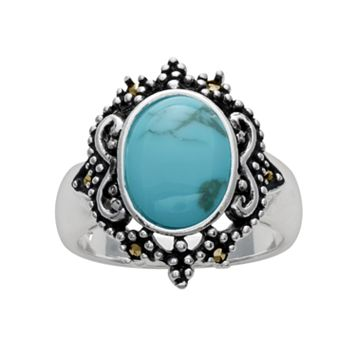 Silver Plated Simulated Turquoise & Marcasite Oval Ring