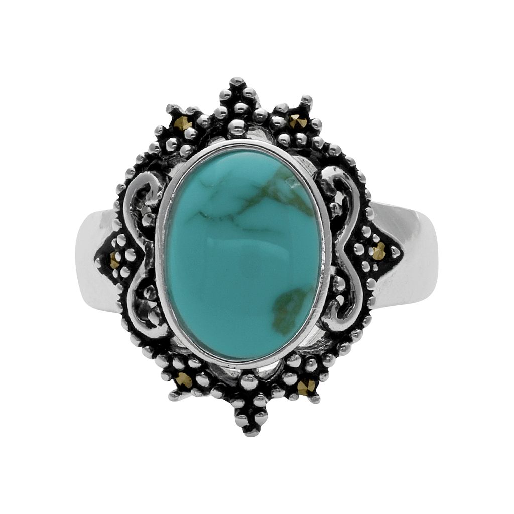 Silver Plated Simulated Turquoise and Marcasite Oval Ring