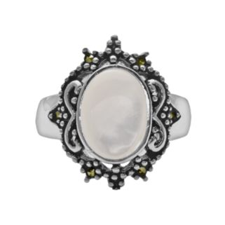 Silver Plated Mother-of-Pearl and Marcasite Oval Ring