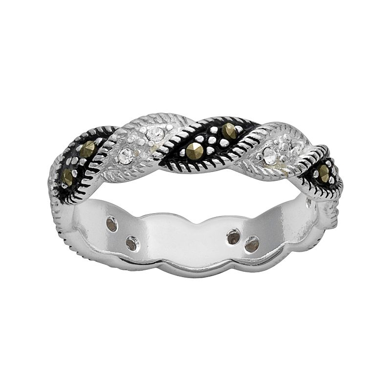 Silver Plated Crystal and Marcasite Twist Ring