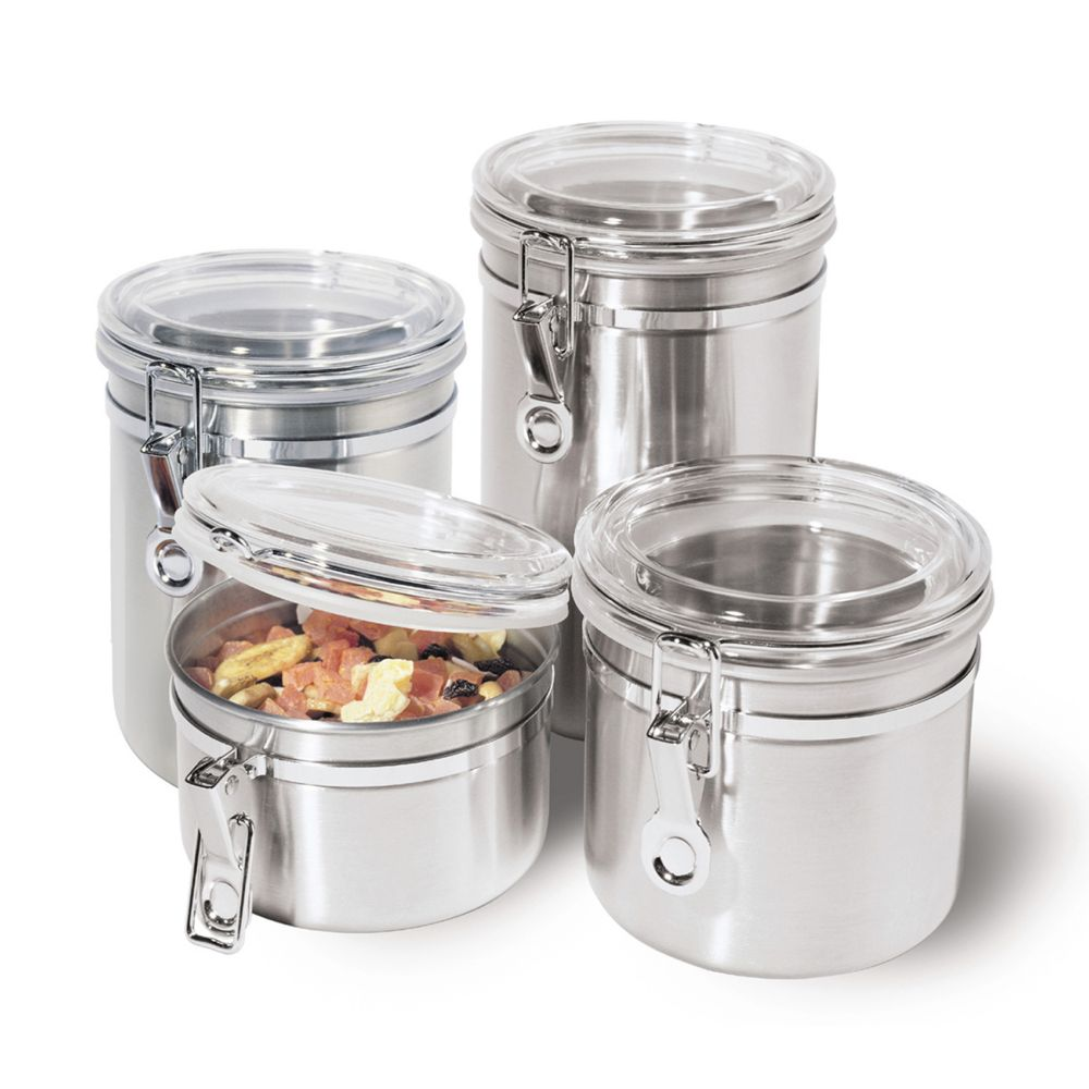 4 pc stainless steel locking kitchen canister set with spoons stainless steel locking kitchen canister set with spoons