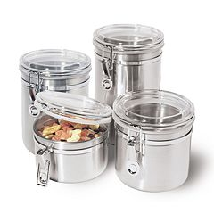 Oggi 4 pc Stainless Steel Locking Kitchen Canister Set With Spoons