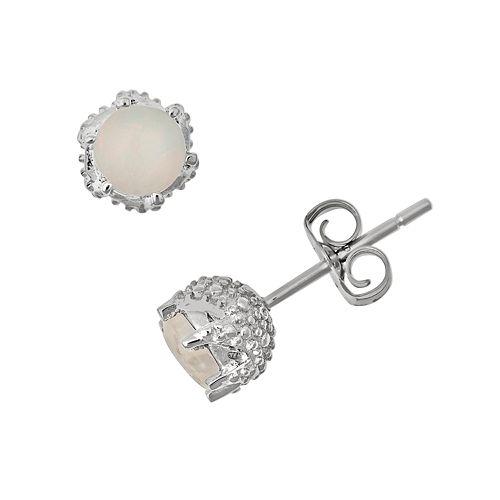 Sterling Silver Opal Stud Earrings
