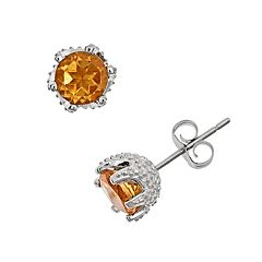 Sterling Silver Citrine Stud Earrings