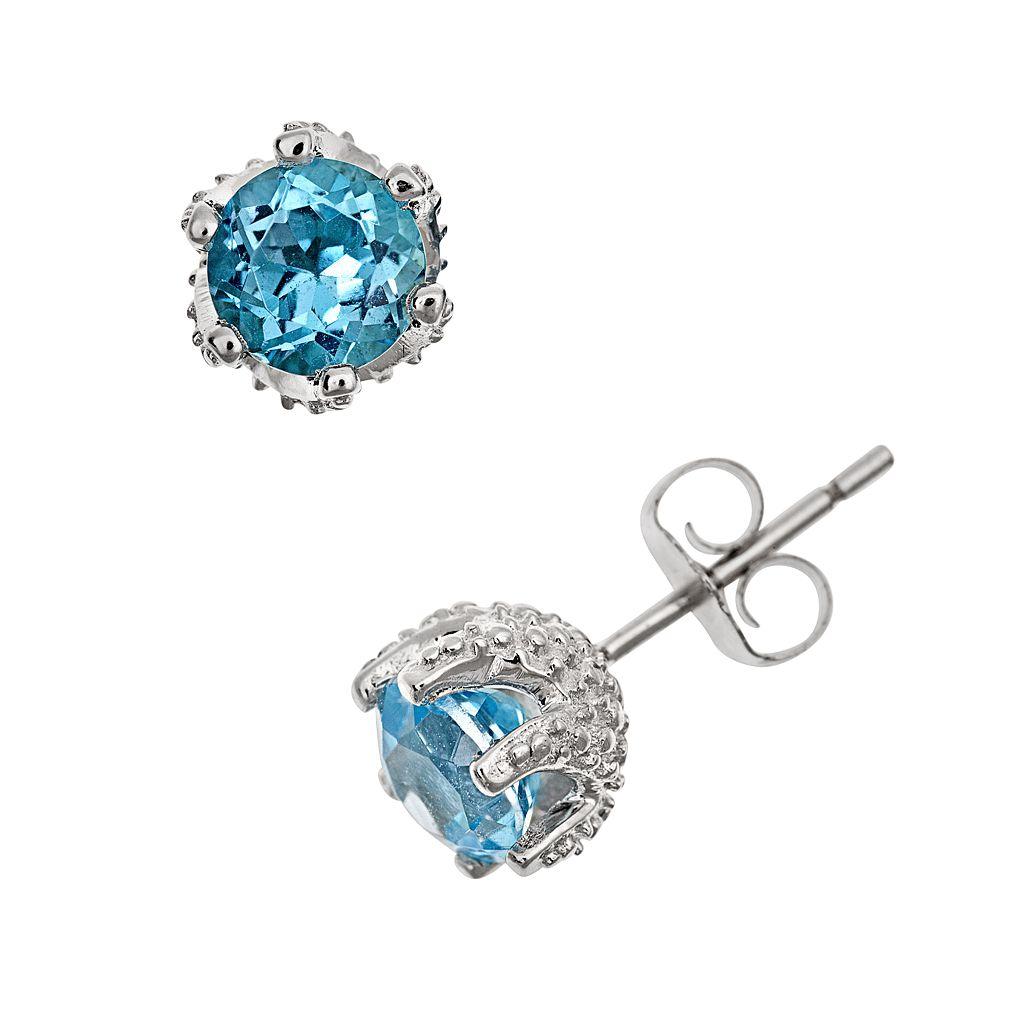 Sterling Silver Blue Topaz Stud Earrings
