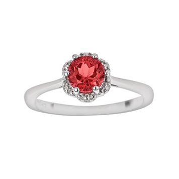 Sterling Silver Garnet Scalloped Frame Ring