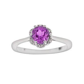 Sterling Silver Amethyst Scalloped Frame Ring