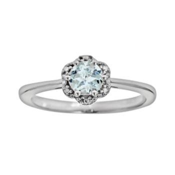 Sterling Silver Aquamarine Studded Flower Ring