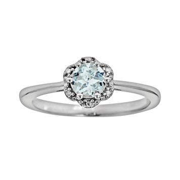 Sterling Silver Aquamarine Studded Flower Ring
