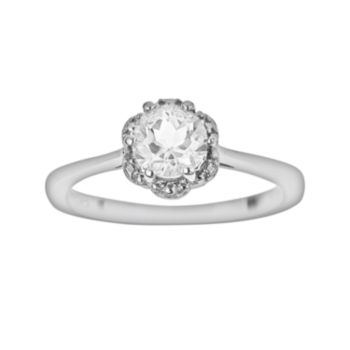 Sterling Silver White Topaz Scalloped Frame Ring