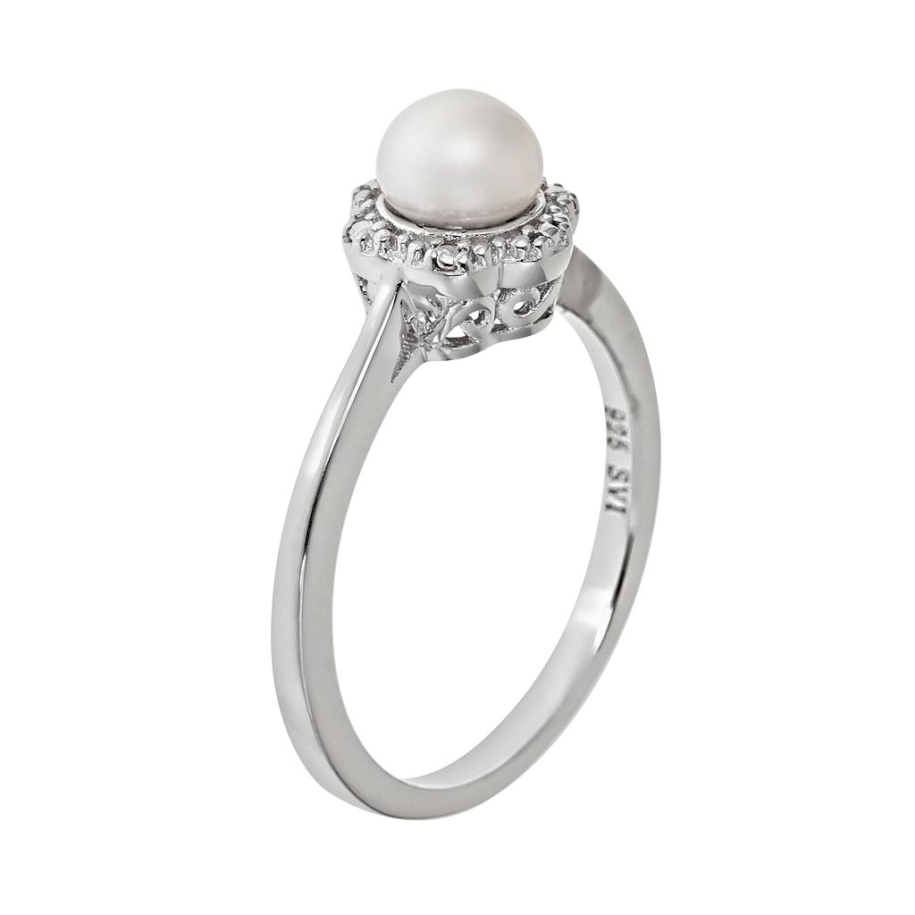 Sterling Silver Freshwater Cultured Pearl Studded Flower Ring