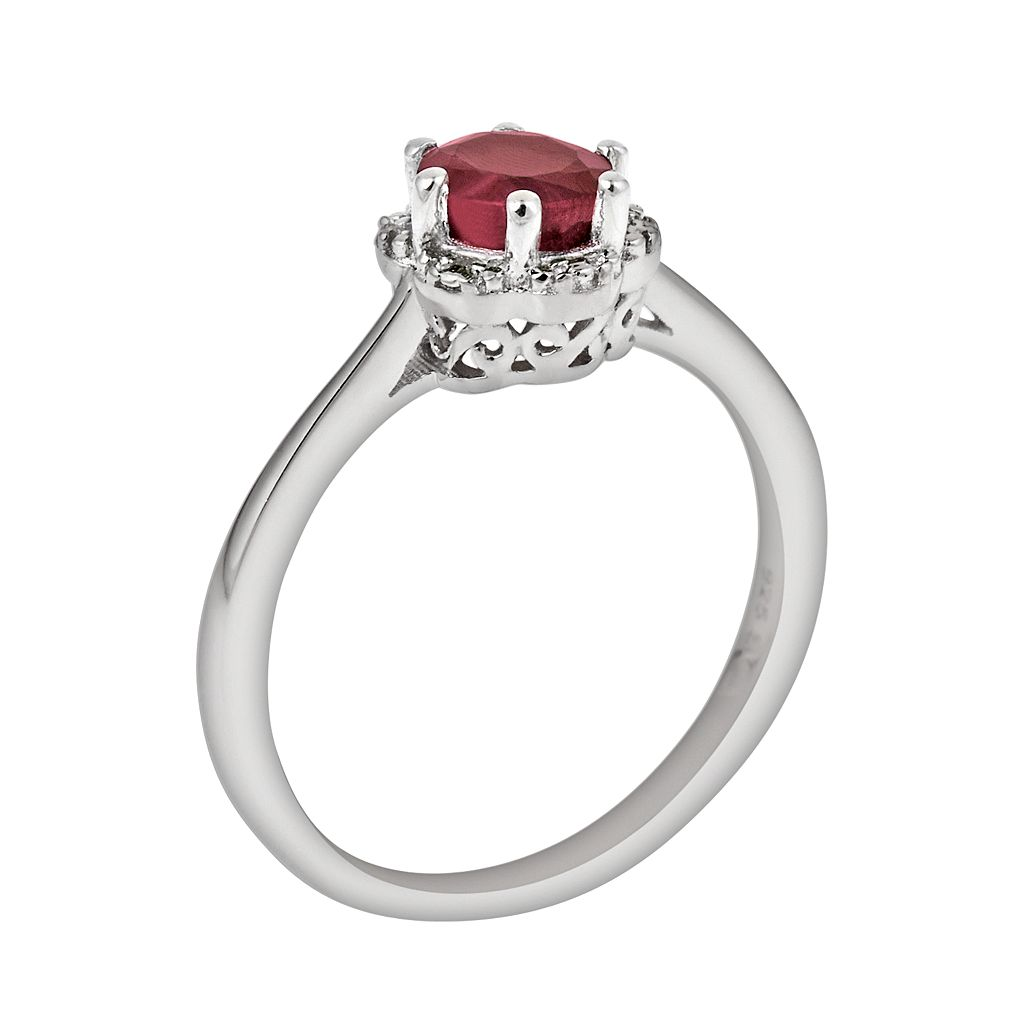 Sterling Silver Ruby Scalloped Frame Ring