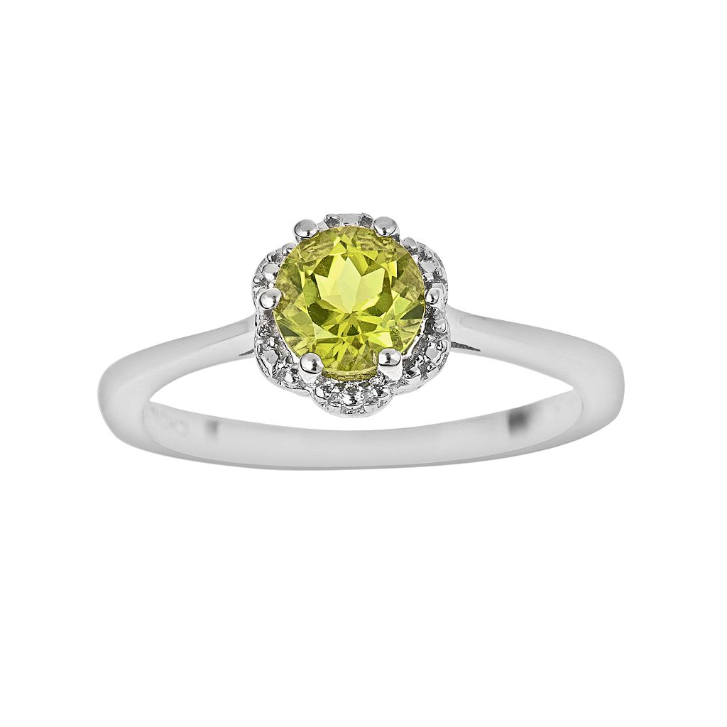 Sterling Silver Peridot Scalloped Frame Ring