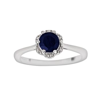 Sterling Silver Sapphire Scalloped Frame Ring