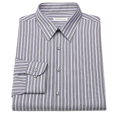 Van Heusen Classic-Fit Striped No-Iron Point-Collar Dress Shirt