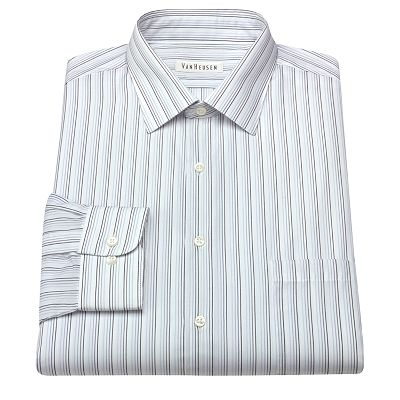 Van Heusen Classic-Fit Striped Dobby No-Iron Spread-Collar Dress Shirt