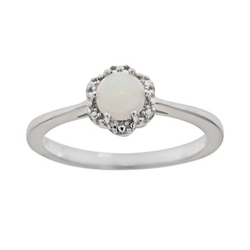 Sterling Silver Opal Studded Flower Ring