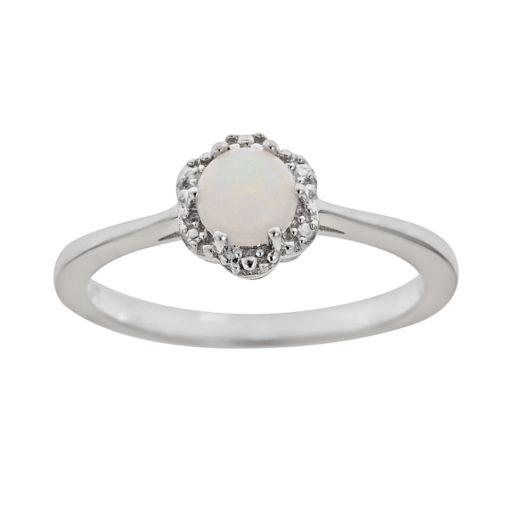 Sterling Silver Opal Studded Flower Ring