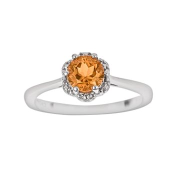 Sterling Silver Citrine Scalloped Frame Ring