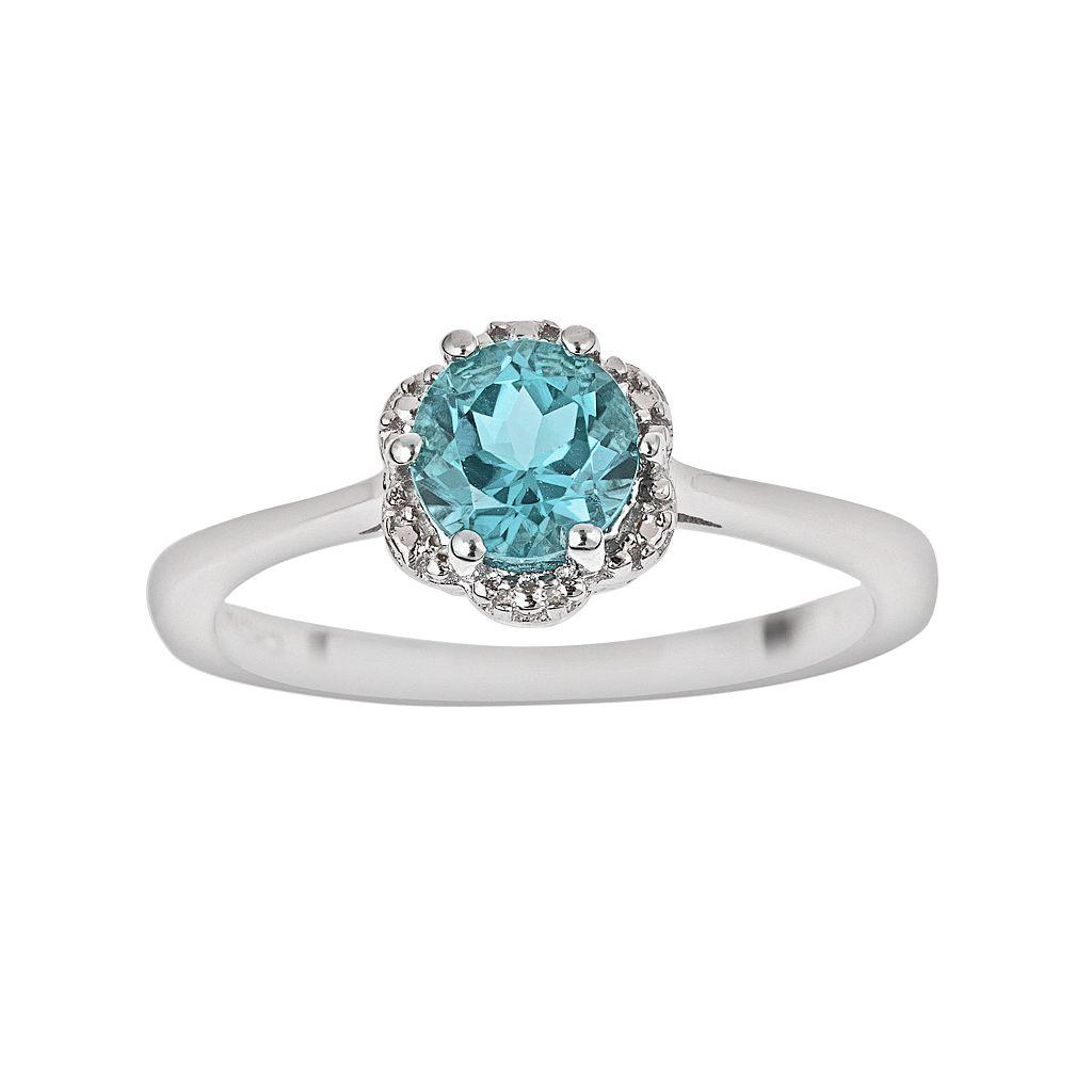 Sterling Silver Blue Topaz Scalloped Frame Ring