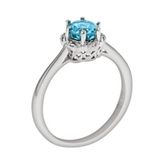 Sterling Silver Blue Topaz Scalloped Frame Ring