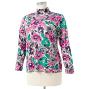 Croft and Barrow Floral Mockneck Top - Women's Plus