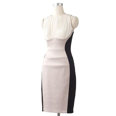 Chaya Colorblock Mixed-Media Sheath Dress