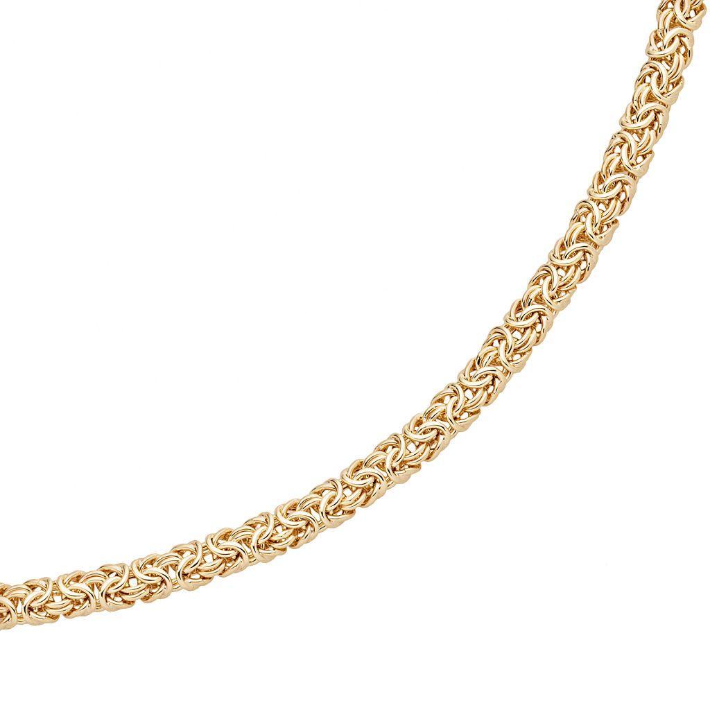 Elegante 18k Gold Over Brass Cubic Zirconia Byzantine Chain Bracelet