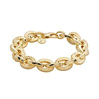 Elegante 18k Gold Over Brass Cubic Zirconia Textured Oval Link Chain Bracelet