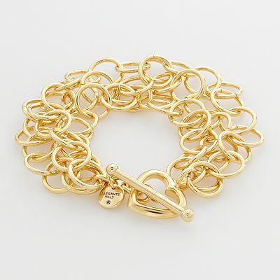 Elegante 18k Gold Over Brass Cubic Zirconia Circle Link Multistrand Bracelet