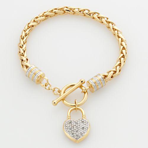 Elegante 18k Gold Over Brass Two Tone Diamond Accent Heart Charm Wheat Chain Bracelet
