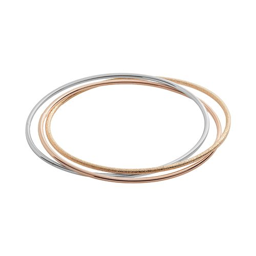 Elegante 18k Gold Over Brass Tri-Tone Bangle Bracelet
