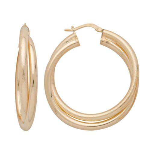Elegante 18k Gold Over Brass Crisscross Hoop Earrings