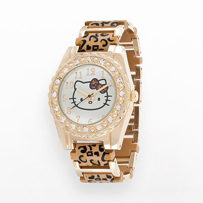 Hello Kitty Gold Tone Simulated Crystal Leopard Watch - Women