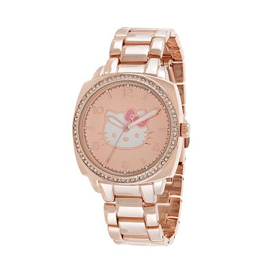 Hello Kitty Rose Gold Tone Simulated Crystal Watch - Women