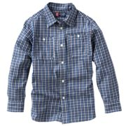 Chaps Tartan-Plaid Work Button-Down Shirt - Boys 4-7