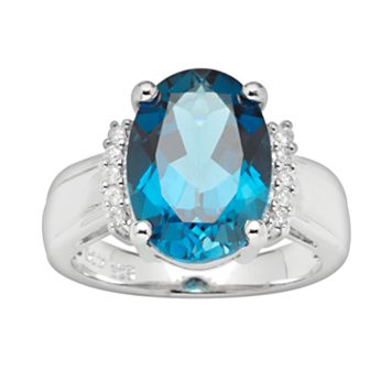 Sterling Silver London Blue Topaz & Diamond Accent Ring