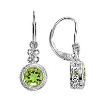 Sterling Silver Peridot & Lab-Created White Sapphire Drop Earrings
