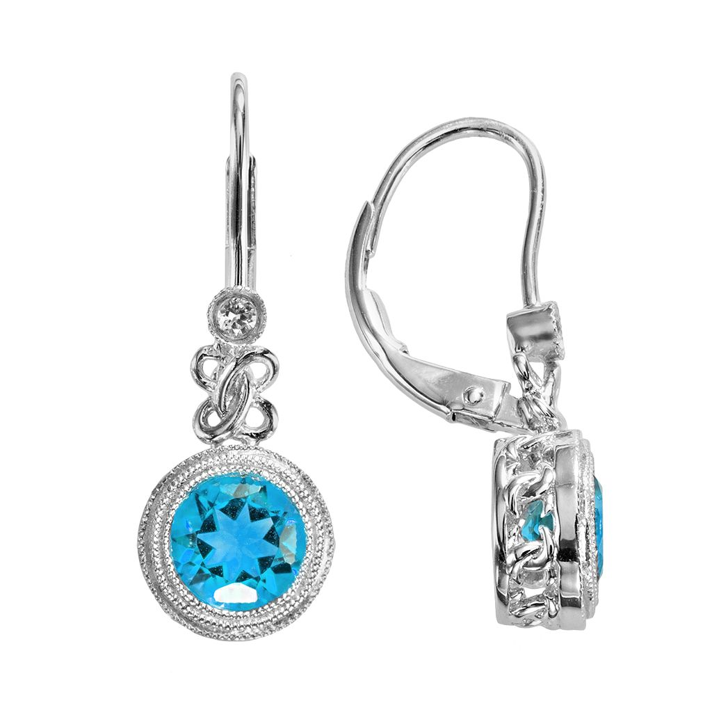 Sterling Silver Blue Topaz & Lab-Created White Sapphire Drop Earrings