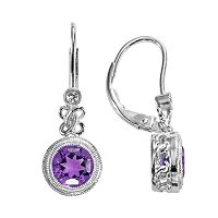 Sterling Silver Amethyst & Lab-Created White Sapphire Drop Earrings