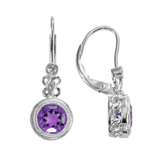 Sterling Silver Amethyst and Lab-Created White Sapphire Drop Earrings